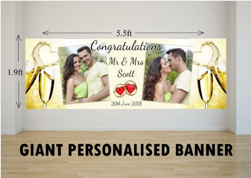 Personalised GIANT Large Congratulations Wedding Engagement Anniversary PHOTO Poster Banner N65